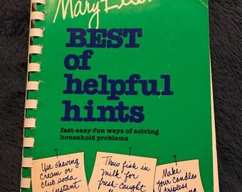 Vintage Book. Mary Ellens Best of Helpful Hints Book. Household Book.