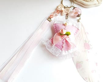 Keychain Corset Valentine's day, pastel pink romantic corset, bag pink corset and feather gift Valentine's day, Valentine's Love