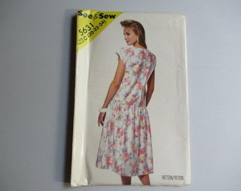 5631 Butterick See & Sew, Misses Dress-Plus Size Sewing Pattern Vintage 1987