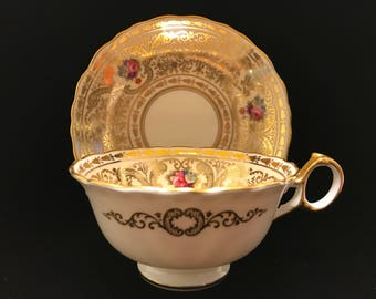 Vintage Gold Foil Transfer Tea Cup