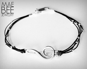 Treble Clef bracelet, sterling treble, music lover bracelet, sterling musical note bracelet, graduation gift, gift for woman