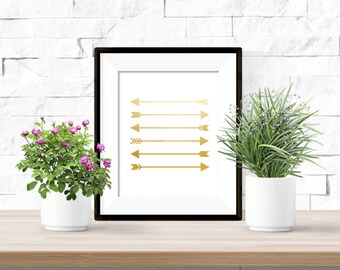Gold Arrows Printable  Artwork - 8x10 Digital Download