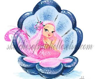 Pastel Morning Mermies in Shell/ Sleepy Mermie Mini fine Art Print