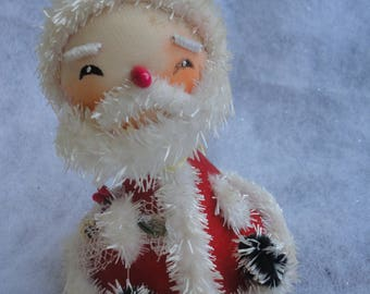 Vintage Cone Spun Cotton Santa Claus Ornament, Made in Japan, Spun Cotton Santa, Spun Cotton Santa Claus, Cone Red Velvet Santa Ornament