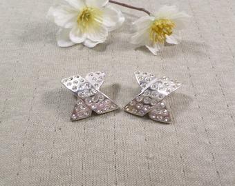 "Beautiful Vintage Silver Tone Pair Of ""X"" Or Tied Rhinestone Clip On Earrings  DL# 4767"