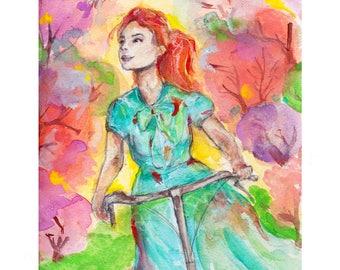 Central Park, central park art, New York art, new york painting, central park painting, girl on bike, bike art,