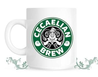 Cecaelian Brew Coffee Mug - Little Mermaid mug - Starbucks coffee style - Cecaelia