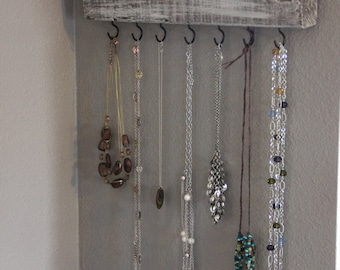 Gray Distressed Jewelry Hanger, Jewelry Organizer, Necklace Hanger, Jewelry Storage, Jewelry Display, Necklace