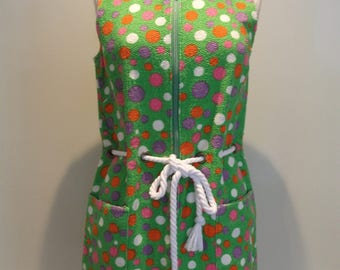 50s/60s TOWELLING BEACH DRESS - Polka Dot - Draw in waist - Zip Front - By Trend - To fit Chest 34""