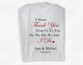 Sweet Thank You Wedding Candy Buffet Treat Bags - Dark Red Personalized Favor Bags with Couple's Names and Wedding Date (0054)