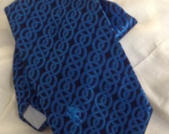 Retro Blue Men's Neck Tie Unicorn Emblem