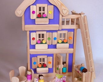 "Wooden Peg Doll House, Wood Toy Dollhouse Furniture, Handmade Waldorf Kids Birthday gift, Jacobs Wooden Toys ""LAVENDER DREAM"""