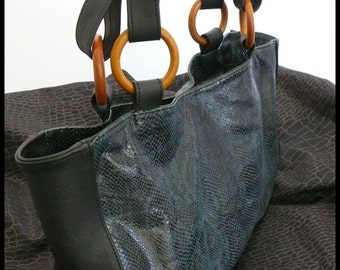 Marony blue python leather bag