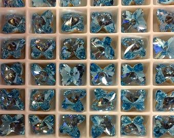6 SIX aigue marine cristal Swarovski Rivoli papillons papillon Foiled pointu Cabochons arrières 10 mm cabines Aqua Dainty Bleu Turquoise assez
