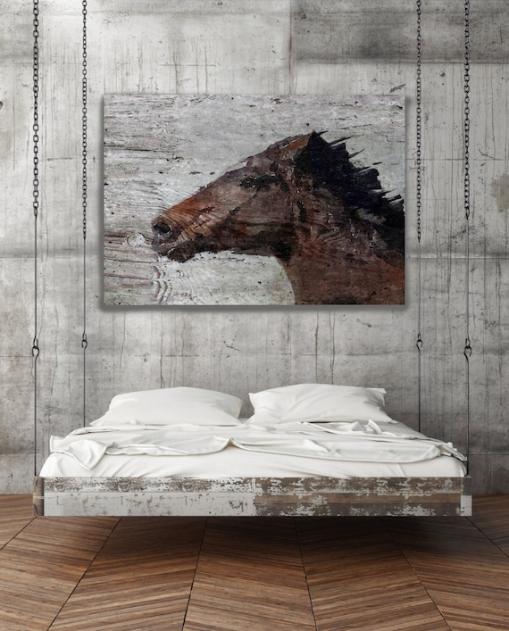 "SALE ORL-7332-1 Running Wild Horse. Extra Large Horse, Horse Wall Decor, Brown Rustic Horse, Large Canvas Art Print up to 72"" by Irena Orlov"