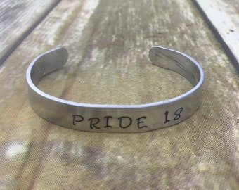 Pride 18 Gay Pride Festival Parade Cuff Bracelet LGBT Lesbian LGBTQ Aluminum Handstamped Handmade Hand Stamped