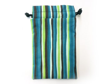 Green and brown stripes drawstring Dice Bag for Cell phones, Nintendo DS XL, Dice, cards, or anything!