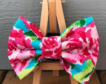 Watercolor Roses Dog Bow Tie