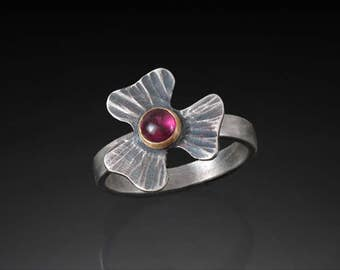 Sterling Silver and 14k Gold Clover Ring with Plum Colored Garnet ~ Artisan Made Flower Ring