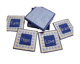 Plastic Canvas Faith, Hope, Love, Grace Coasters with Box, Christian Coaster Set