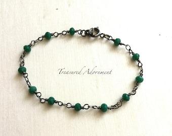 Rosary Chain Bracelet, Green Crystal Bracelet, Gunmetal, Wire Wrapped Bracelet, Dainty Bracelet, Birthday gift, Ramadan gift, Eid gift