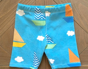 Organic Sailboat Boy Shorts - Size Infant - Toddler. Cotton shorts. Blue Sailboat and Cloud Shorts w/ orange, green & yellow. Baby Boy.