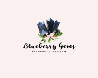 Gemstone logo - Premade logo design - Gems and crystals - Jewelry shop logo - Small business logo - watercolor logo - Bohemian logo