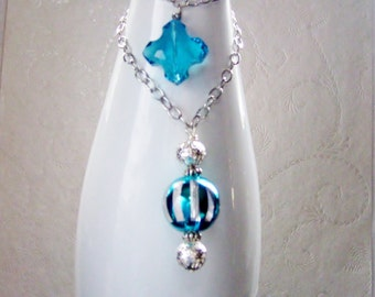 Teal and Silver Wine Bottle Jewelry - Wine Bottle Decor - Wine Bottle Necklace - Wine Accessories - Crystal Snowflake Holiday Decor