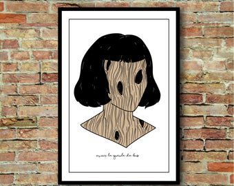 """Illustration have hangover - series """"French expressions"""". A4. Poster / print / poster"""