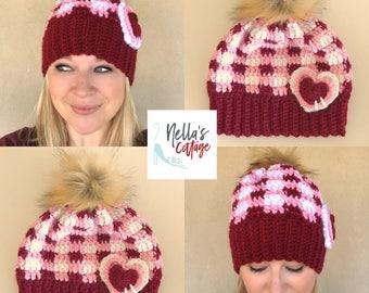 Crochet Pattern - INSTANT PDF DOWNLOAD - Plaid Hat Pattern - Slouchy Beanie Pattern - Crochet Hat Pattern - Crochet Plaid Hat Pattern