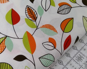 Vintage Leaf Design With A Modern Twist On A White Background  Clean Living by Barbara Jones of Quilt Soup, Quilt Fabric By The Yard 6687 16