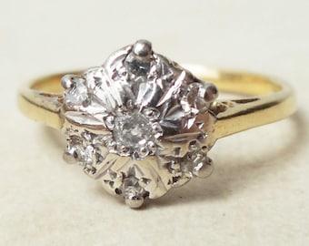 Bague fleur de diamant Vintage, or 18 carats et diamant bague de fiançailles, taille environ 5,75