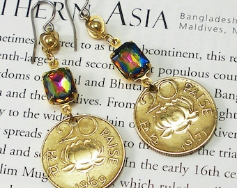 India, Vintage Coin Earrings --- Namaste --- Lotus Flower - Water Flower - Divine Beauty - Supreme Reality - Be a Traveler - World Peace