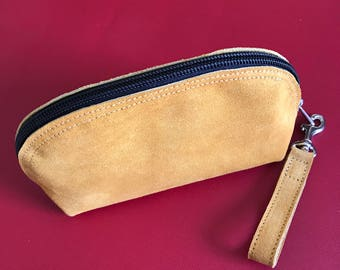 Suede Leather Zip Pouch,  Finger Strap Pouch, Tan Leather Pouch, Small Leather Zip Pouch, Leather Cosmetic Bag, Leather wallet, Suede wallet
