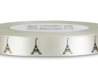 Eiffel Tower French Ribbon 2 Yards, French Eiffel Tower Ribbon, French Ribbon, Satin Ribbon, Scrapbooking, Gift Wrapping, France Icon