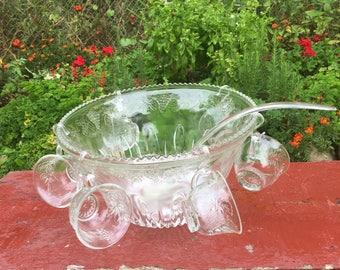 Princess Punch Bowl Set, Vintage Punch Bowl Set