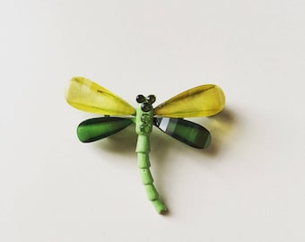 1940s vintage old crystal glass dragonfly brooch pin