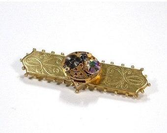Steampunk Jewelry Pin Brooch Gold JULES JURGENSEN Watch Swarovski Crystal Women's Pin Wedding Anniversary - Steampunk Jewelry by edmdesigns