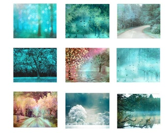Nature Photography, Dreamy Aqua Teal Turquoise Nature, Sparkling Fairy Lights Aqua Trees, Set of Nine Fantasy Aqua Nature Photos Wall Art