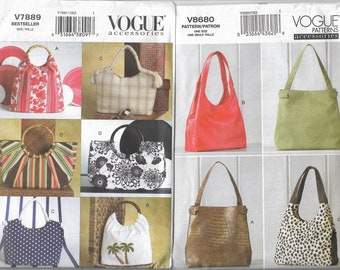 Vogue 7889 & 8680 Uncut Summer Purse Bag Handbag Sewing Pattern Lot of 2