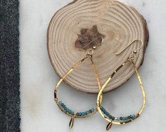 Apatite-Lined Gold Teardrop Hoop Earrings