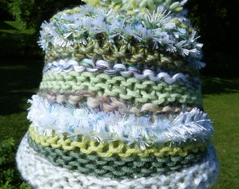 Green and White Novelty Yarns Knitted Hat