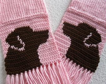 Chocolate Labrador Retriever Scarf. Pink knit scarf with brown labs. Labrador dog gift