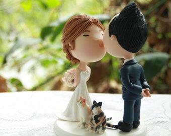 Cute couple kiss with pets. Wedding cake topper. Wedding figurine. Handmade. Fully customizable. Unique keepsake