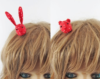 MADE-TO-ORDER ( 1 - 2 Weeks)- Bunny or Bear Hair Clip-Red Spots