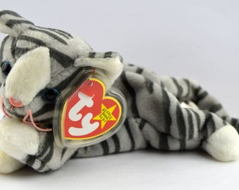 Ty Prance the Gray Silver Tabby Cat Beanie Baby - Retired
