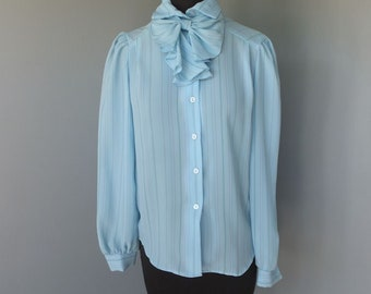 Vintage 1970s/80s Blouse, California Connection, Blue Secretary Blouse, Bow Tie Blouse, Polyester, Size S/MED