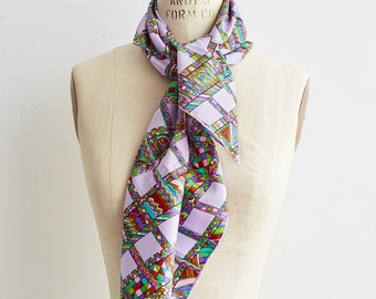 60s Silk Scarf   Vintage Italian Silk Scarf   Pop Art Scarf   Psychedelic Print Scarf   Mod Silk Scarf   1960s Scarf   Vintage Silk Scarf