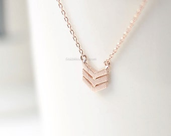 Rose Gold Triple Chevron Necklace, V chevron necklace, necklace for women, Dainty Simple Layering Minimalist Necklace
