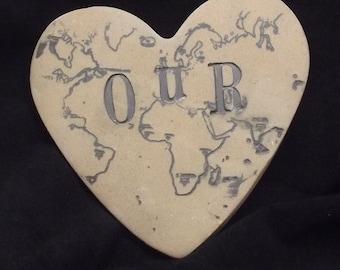 Our World Heart, Ceramic Heart, Love Heart,